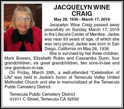 Jacquelyn Wine Memorial Video