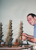 Louie building replica of the USS Constitution